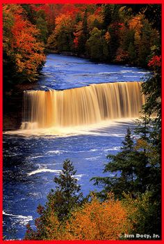 Upper Tahquamenon Falls, Michigan. Yooper Fun Fact #1- It's also known as Rootbeer Falls because in Autumn leaves fall into the the river and decompose causing the river to darken, resembling rootbeer!!!