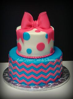 Hot pink Bow 2 tiered Turquoise Polka Dot Chevron Happy Birthday Girly Cake Lake House Cake by Shannon