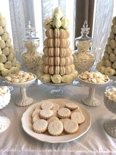 Lovely treats at a white wedding party! See more party planning ideas at CatchMyParty.com!