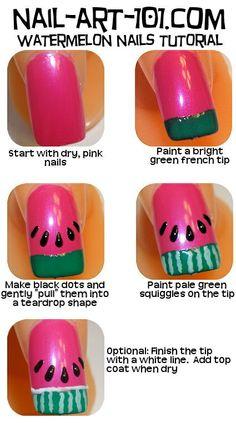 How to: Watermelon nails :) Via nail-art :)