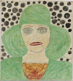 Lee Godie, Girl in Green, c. 1968–1992; colored pencil and watercolor on paper; 18 x 16 ½ in. John Michael Kohler Arts Center Collection