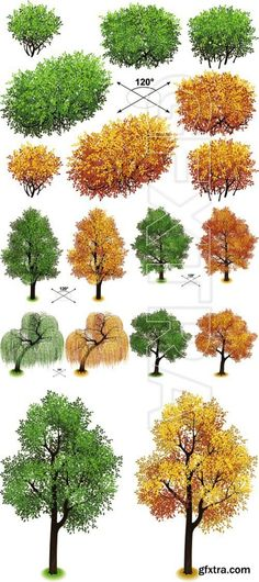 Isometric Green & Autumn Trees Vector - http://scriptnull.com/isometric-green-autumn-trees-vector/