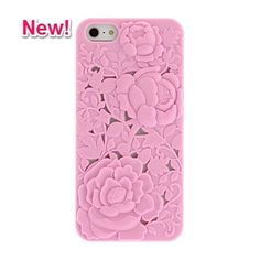 Elegant solid color rose-carved hard case for iphone 5/5s (free shipping!)