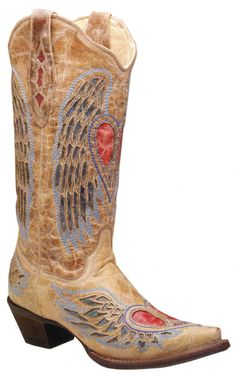 Corral Boots - Ladies Antique Saddle/Blue Jean Wing And Heart A1976*