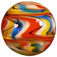 """Amazon.com: Unique & Custom {1"""" Inch} One Single Large """"Round"""" Opaque Marble Made of Glass for Filling Vases, Games & Decor w/ Shiny Swirled Artistic Contemporary Spiral Design [Red, Blue, & Yellow]: Home & Kitchen"""