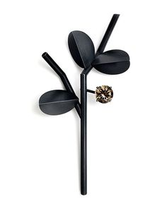 Claude Schmitz Brooch: Black branch with fruit, 2014 Silver patina, smoke quartz