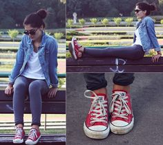 H Sunnies, H Shirt, C Jeans Jacket, Primark Pants, Converse Shoes
