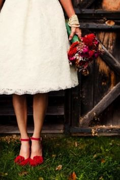 White wedding dress and red heels. :) I'm SO doing this!