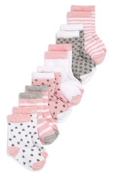 Keep little tootsies warm and cozy in patterned socks made from a soft cotton blend. Style Name:Nordstrom Baby Crew Socks (Baby) Style Number: Available in stores. Baby Outfits, Outfits Niños, Summer Outfits, Baby Girl Socks, My Baby Girl, Baby Clothes Patterns, Cute Baby Clothes, Kids Socks, Baby Kind