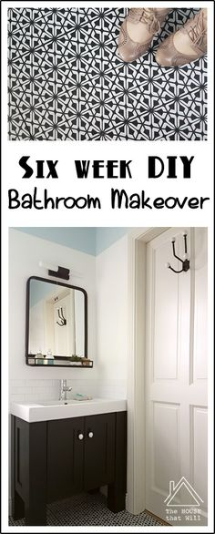 The House that Will | DIY Bathroom Makeover - black, white, blue, pink