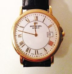 Raymond Weil 18 Carat Gold & Leather Men's Watch Mens Watches Leather, Watches For Men, Gold Leather, Leather Men, Raymond Weil, Carat Gold, Accessories, Men's Watches, Jewelry Accessories