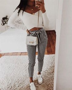 VISIT FOR MORE Autumn Winter women casual mid waist pants black striped bow tierricdr rricdress The post Autumn Winter women casual mid waist pants black striped bow tierricdr rricd appeared first on Outfits. Cute Fashion, Look Fashion, Teen Fashion, Fashion Outfits, Womens Fashion, Cheap Fashion, Feminine Fashion, Dress Fashion, Fashion Boots