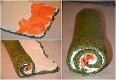Rolada szpinakowa z wędzonym łososiem Fresh Rolls, Party Time, Sushi, Avocado, Ethnic Recipes, Impreza, Lawyer, Sushi Rolls