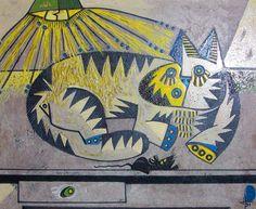 Gato Sombre La Mesa 1991 16x19 by Jesus Fuertes