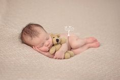 A little teddy that nestles perfectly in a newborn's arms for those precious newborn pictures. Teddy is approximately 6 inches tall. All items are available for PRE-ORDER only. Be sure to check the current turnaround time Make a set by adding a matching bonnet, beanie, shorties, or longies!