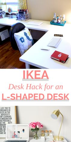 Ikea desk hack for the perfect l-shaped desk that is affordable! White office desks are hard to come by but l-shaped white office desks are even more rare. Make your own l-shaped desk with this Ikea desk hack. Ikea L Shaped Desk, White L Shaped Desk, L Shaped Office Desk, L Shaped Corner Desk, White Desk Office, Diy Office Desk, Guest Room Office, Office Spaces, Work Spaces