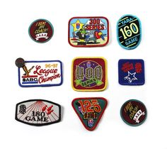 Vintage 1990s 90s Bowling League Sportswear Patches (Set of 9)