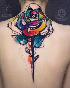 Colorful watercolor rose back tattoo