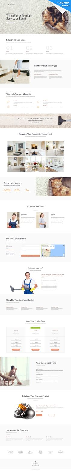 Cleanni MotoCMS 3 Landing Builder - http://www.templatemonster.com/landing-page-template/cleaning-landing-page-template-59197.html