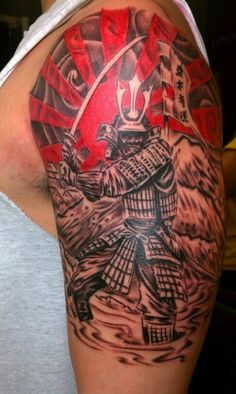 Samurai with a flag and red sun #TattooModels #tattoo