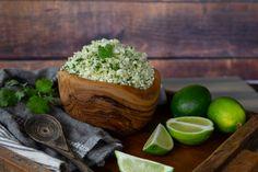 Keto Cilantro Lime Cauliflower Rice Rice Recipes, Whole Food Recipes, Keto Recipes, Taco Salat, Cilantro Lime Cauliflower Rice, Protein, Vegetarian Paleo, Fresh Lime Juice, Serving Size