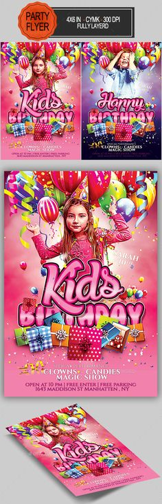 Kids Birthday Flyer Event flyer templates, Flyer template and