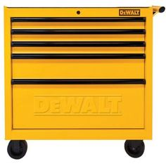 36 In. 5-drawer Rolling Tool Cabinet, Yellow