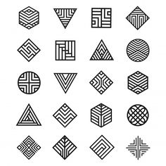 Set Of Geometry Shape Icon Geometric Shapes Design, Geometric Drawing, Shape Design, Design Art, Logo Design, Motif Art Deco, Art Deco Pattern, Pattern Design, Geometry Shape