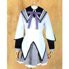 Puella Magi Madoka Magica Akemi Homura Cosplay Costume ❤ liked on Polyvore featuring costumes, puella, star costume, role play costumes, cosplay halloween costumes and cosplay costumes
