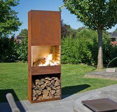 Cor-Ten Stahl Gartenkamin / Grill Outdoor Wood Burning Fireplace, Wood Burning Fireplace Inserts, Outdoor Fireplace Designs, Backyard Fireplace, Custom Fireplace, Fire Pit Backyard, Metal Fire Pit, Outdoor Heaters, Fire Pit Designs