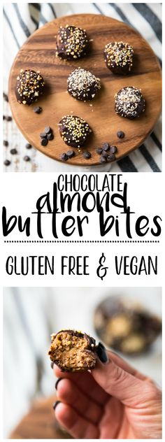These healthy Chocolate Almond Butter Bites are a perfect treat for kids and adults! They make a tasty option for those with peanut allergies and seriously taste like a decadent dessert but are made with NO grains, eggs, or refined sugars. They're gluten-free, vegan, and a healthy and delicious way to satisfy those chocolate cravings!