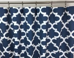 SALE Navy Window Curtains Bedroom Curtains by BlissfullySewing Green Curtains, Window Curtains, Bedroom Curtains, Long Shower Curtains, Rustic Curtains, Foyer, Trending Outfits, Windows, Navy