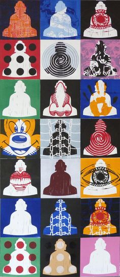 "Olivier Morel • ""7x3 bouddhas 1/5"" • Estampe sur papier • KAZoART #art #artcontemporain #contemporaryart #oeuvre #galeriedart #artgallery #bouddha #estampe"
