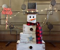 Items similar to solid cedar, block, distressed lighted Snowman with holiday sign on Etsy Wood Creations, Happy Holidays, Christmas Stockings, Snowman, My Etsy Shop, Holiday Decor, Handmade Gifts, Vintage, Home Decor