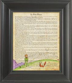The Little Prince  Printed on The Little Prince page    by Nacnic, $7.00   Oh, this is just divine!