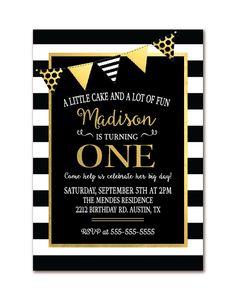 Mr ONEderful Birthday Invitation Black And Gold Birthdays - Black and white striped birthday invitations