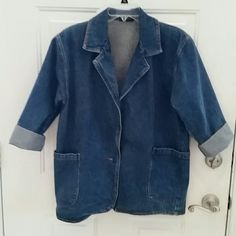 """Women's jean jacket Women's size large long sleeve jean jacket. Shown in picture with arms double rolled for 3/4 sleeve look. Long waisted design with single button closure. Chest 44"""", waist area 44"""", length shoulder to hem 28.5"""". Older style for a more retro look. Worn for an 80's party!! ELCO Jackets & Coats Jean Jackets"""