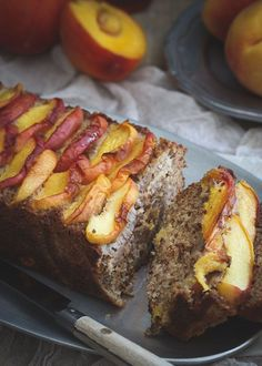 This paleo maple peach bread is made with almond and coconut flours and filled with sweet maple roasted ripe peaches for a delicious grain-free summer treat.