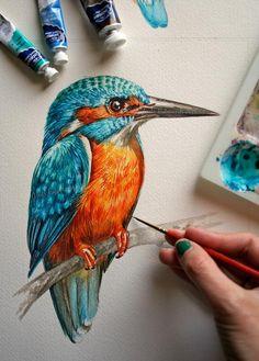 Kingfisher painting - Original watercolor