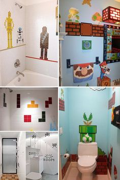 Video Game Bathrooms. The tetris shower would be so awesome and super easy.