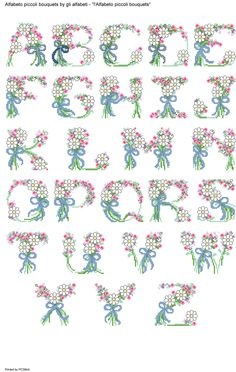 Alfabeto piccoli bouquets Cross Stitch Numbers, Cross Stitch Letters, Beaded Cross Stitch, Cross Stitch Flowers, Counted Cross Stitch Patterns, Monogram Wall, Monogram Alphabet, Embroidery Alphabet, Embroidery Patterns