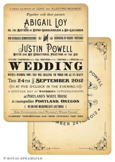 Welcome to Royal Steamline! Here you will find vintage wedding invitations from a time that never was. We offer a complete line of readymade vintage, retro, steampunk and gothic invitations. It's easy: choose your design, customize your wording, and receive your completed invitations in two-to-four weeks!