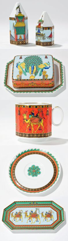 """In 1993, Gianni Versace designed """"Le voyage de Marco Polo"""" dishes for the Rosenthal """"studio line"""". The porcelain has rather geometrical forms but it shows a lush and detailed ornamental painting that features birds-of-paradise, peacocks and peacock feathers, cameleers and chinoiseries. This set is not commercially available."""