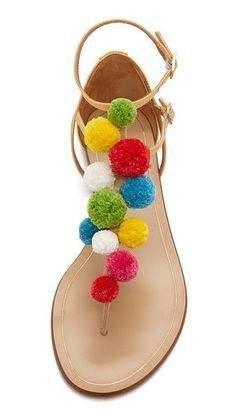 3f35c40be Sandals Summer Aquazzura Pom Pom Flat Sandals - There is nothing more  comfortable and cool to wear on your feet during the heat season than some  flat ...
