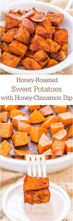 Honey-Roasted Sweet Potatoes with Honey-Cinnamon Dip - The honey glaze and the creamy cinnamon dip make these potatoes irresistible! We prefer olive oil and rosemary on our sweet potatoes. Side Recipes, Veggie Recipes, Fall Recipes, Cooking Recipes, Think Food, I Love Food, Sweet Potato Recipes, Roasted Sweet Potatoes, Glazed Sweet Potatoes