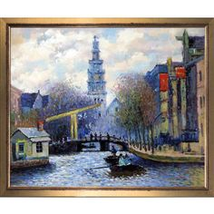 La Pastiche Claude Monet 'Canal in Amsterdam 1874' Hand Painted Framed Canvas Art