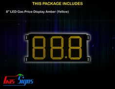 8 Inch 88.8 LED Gas Price Display Yellow with housing dimension H290mm x W492mm x D55mmand format 88.8 comes with complete set of Control Box, Power Cable, Signal Cable & 2 RF Remote Controls (Free remote controls).