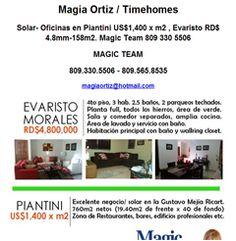 Solar- Oficinas en Piantini US$1,400 x m2 , Evaristo RD$ 4.8mm-158m2. Magic Team - Publicidad