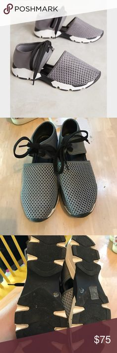 Anthropologie Mesh Sneakers By All Black. Mesh and neoprene sneakers in size 38; fit like a 7.5-8. Grey/black/white (grey looks somewhat darker in person than the cover photo). These have been worn a few times and have a few scuffs. Tons of life left! Anthropologie Shoes Sneakers