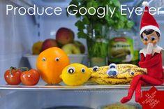 elf on the shelf put googly eyes on fruit!!